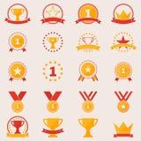 Reeks toekenning en overwinningspictogrammen Royalty-vrije Stock Foto's