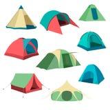 Reeks toeristententen Inzameling van het kamperen tentpictogrammen Vector illustratie Stock Fotografie