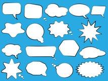 Reeks toespraakbellen Lege lege witte toespraakbellen Het woordontwerp van de beeldverhaalballon royalty-vrije stock afbeelding