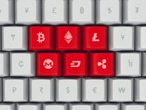 Reeks toetsenbordknopen met populaire munt en cryptocurrency royalty-vrije illustratie