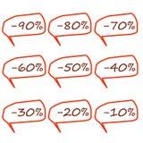 Reeks toevallige markeringen van de speciale aanbiedingverkoop Stock Afbeelding