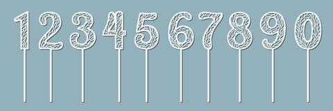 Reeks toppers voor verjaardag en verjaardag Nummer 1 één, 2 twee, 3 drie, 4 vier, 5 vijf, 6 zes, 7 zeven, 8 acht vector illustratie
