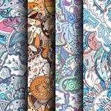 Reeks tracery kleurrijke naadloze patronen Gebogen doodling achtergronden voor textiel of druk met mehndi en etnische motieven Royalty-vrije Stock Afbeelding