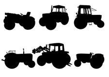 Reeks tractorsilhouetten Royalty-vrije Stock Afbeeldingen