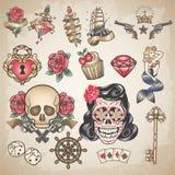 Reeks traditionele gekleurde tatoegeringen Royalty-vrije Stock Fotografie