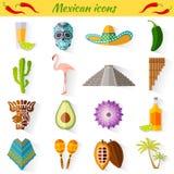 Reeks traditionele nationale symbolen van Mexico Stock Foto