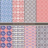 Reeks traditionele oosterse, Indische naadloze patronen Vastgesteld etnisch Naadloos ornament in roze, bruin blauw, Decoratieve o vector illustratie
