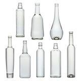 Reeks transparante glasflessen Stock Fotografie