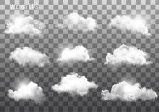 Reeks transparante verschillende wolken vector illustratie