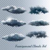 Reeks Transparante Wolken stock illustratie