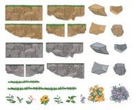 Reeks tuininstallaties, bloemen en stenen voor Stock Fotografie