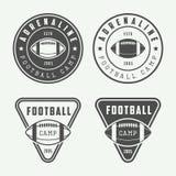 Reeks uitstekend rugby en Amerikaanse voetbaletiketten, emblemen Stock Foto