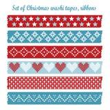 Reeks uitstekende banden van Kerstmiswashi, linten, elementen Royalty-vrije Stock Foto