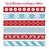 Reeks uitstekende banden van Kerstmiswashi, linten, elementen, leuke ontwerppatronen Stock Foto's