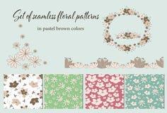 Reeks uitstekende bloemen naadloze patronen vector illustratie