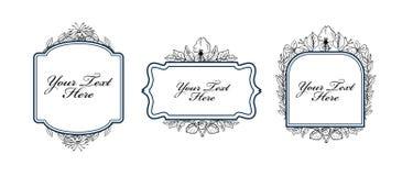Reeks uitstekende bloemenetiketten royalty-vrije illustratie