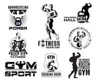 Reeks uitstekende de ruimteemblemen van Bodybuilding en van de geschiktheid, ontwerpelementen Stock Foto
