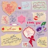 Reeks uitstekende documenten en etiketten, hart, kalligrafische teksten voor Royalty-vrije Stock Foto