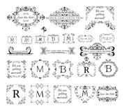 Reeks uitstekende etiketten, kopballen en kaders voor huwelijksuitnodiging, groetkaart, embleemmalplaatjes, monogram, menukaart,  royalty-vrije illustratie