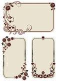 Reeks uitstekende etiketten met bloemenornament Royalty-vrije Stock Afbeelding