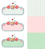 Reeks uitstekende etiketten met cupcake en suikergoed stock illustratie
