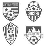 Reeks uitstekende etiketten van de voetbalvoetbal, embleem en Stock Fotografie