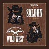 Reeks Uitstekende Etiketten van Hipster, Logotypes, Kentekens voor Uw Zaken Wild het westenthema vector illustratie