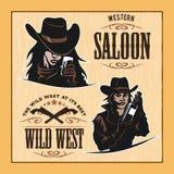 Reeks Uitstekende Etiketten van Hipster, Logotypes, Kentekens voor Uw Zaken Wild het westenthema stock illustratie
