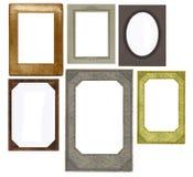 Reeks uitstekende frames die op wit worden geïsoleerdt Stock Foto's