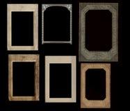 Reeks uitstekende frames die op zwarte worden geïsoleerdt Royalty-vrije Stock Afbeeldingen
