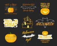 Reeks Uitstekende Gelukkige Halloween-Kentekens, Etiketten vector illustratie