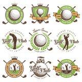 Reeks uitstekende golfemblemen royalty-vrije illustratie