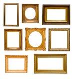 Reeks uitstekende gouden frames Stock Foto's