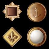 Reeks uitstekende gouden knopen - vectorillustratie stock illustratie