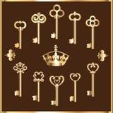 Reeks uitstekende gouden sleutels Stock Afbeelding