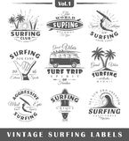 Reeks uitstekende het surfen etiketten Royalty-vrije Stock Afbeeldingen