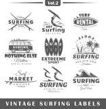 Reeks uitstekende het surfen etiketten Stock Foto's