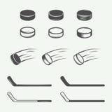 Reeks uitstekende hockeyelementen in retro stijl Stock Afbeeldingen