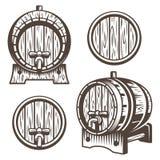 Reeks uitstekende houten vaten royalty-vrije illustratie