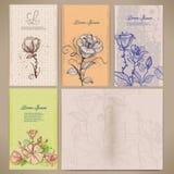 Reeks uitstekende kaarten met bloemen, het patroon binnen van de kaart Stock Foto's