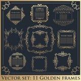 Reeks Uitstekende kalligrafische bloemen gouden kaders Stock Foto
