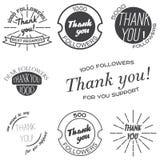 Reeks uitstekende kentekens met Thank u, banners en stickers Royalty-vrije Stock Foto's