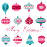 Reeks Uitstekende Kerstboomballen Stock Foto's