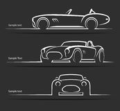 Reeks uitstekende klassieke sportwagen vectorsilhouetten Royalty-vrije Stock Fotografie