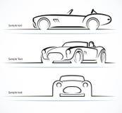 Reeks uitstekende klassieke sportwagensilhouetten Royalty-vrije Stock Foto's