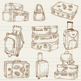 Reeks Uitstekende Koffers Stock Afbeeldingen