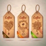 Reeks uitstekende koffieetiketten royalty-vrije illustratie