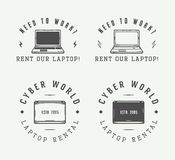 Reeks uitstekende laptop embleem, embleem, kenteken en ontwerpelementen Stock Foto's