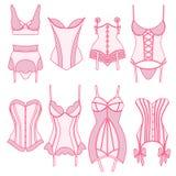 Reeks uitstekende lingerieelementen Royalty-vrije Stock Foto
