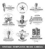 Reeks uitstekende muzikale etikettenmalplaatjes Royalty-vrije Stock Afbeeldingen
